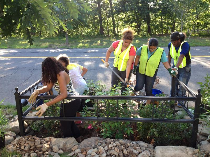 Common Ground students weeding a West Park Ave. bioswale