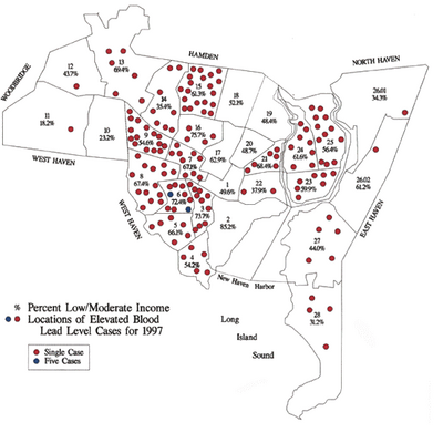 Lead poisoning map