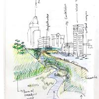sketch of skyline and greenspace